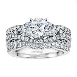 Bridal Set(engagment ring and matching band) set in Gold With Moissanite(2.95tw)