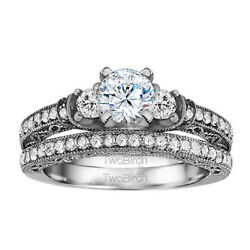 Bridal Set(engagment ring and matching band) set in Gold With Moissanite(2.1tw)