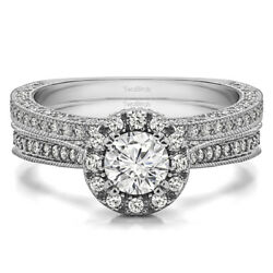Bridal Set(engagment ring and matching band) set in Gold With Moissanite(1.32tw)
