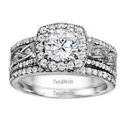 Bridal Set(engagment ring and matching band) set in Gold With Moissanite(1.88tw)