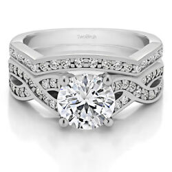 Bridal Set(engagment ring and matching band) set in Gold With Moissanite(2.14tw)