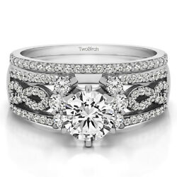 Bridal Set(engagment ring and matching band) set in Gold With Moissanite(1.67tw)