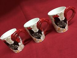 18 Oz Damask Rooster Coffee Tea Mug Cup French Country Design Boston Warehouse