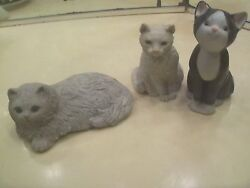 Lot of 3 cat figurines- white cat black white cat and gray