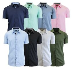 Mens Short Sleeve Dress Shirts Button Down Slim Fit Casual Solid Colors NWT NEW $12.99