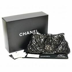 Authentic Chanel CC Coco Sequins Clutch Hand Second Bag Pouch Pearl Black Silver