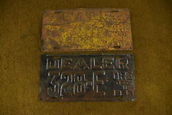 Vintage 1933 Oregon Dealer Plates Pair Ford Dodge Chevrolet Plymouth Cadaillac