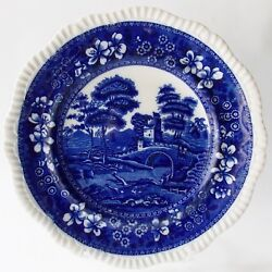 Six 6 Antique Spode Blue Tower Gadrooned Dinner Plates Blue And White English