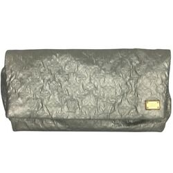 LOUIS VUITTON Silver Metallic Limelight Oversized Clutch Bag Gray Monogram LV