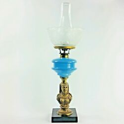 Antique Roman Woman Figural Bust Kerosene Oil Lamp With Blue Glass Etched Shade