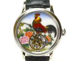 Flying Tourbillon Ss Wristwatch With Hand Painted Enamel Chinese Rooster Zodiac