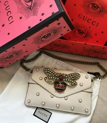 Gucci broadway clutch shoulder bag white Off leather with pearls