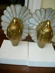 Maitland Smith Satina Brass Bird Oyster Shell Accents White Marble Base Bookends