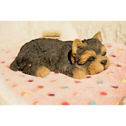 Yorkshire Terrier Puppy Dog Sleeping Life Like Realistic Garden Decor Statue