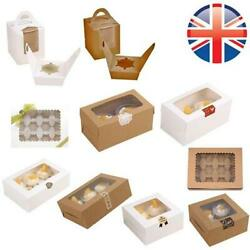 Windowed Cupcake Boxes W/ Inner Trays 1 2 4 6 12 Cup Cakes