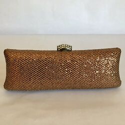 JNB Clutch Party Hard Shell Bag Bronze Shimmering Women Evening Purse Wedding