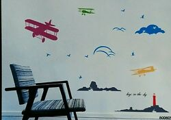 Airplane Biplanes Removable Kids Nursery Vinyl Wall Stickers Decal US. Seller