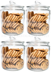 4 Pack 1 Gallon Glass Cookie Coffee Candy Storage Display Jar W/ Lid Commercial