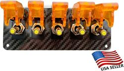 5 Hole Real Carbon Fiber Panel W/ 5 Led Toggle Switches And Covers - Orange