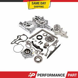 Timing Chain Kit Cover W/ Steel Rail Oil Water Pump For Toyota 2.4 22re Pickup