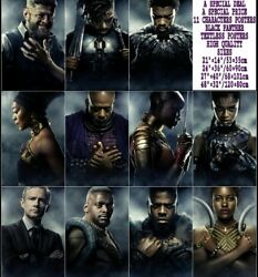 Black Panther Movie Set 11 Characters HQ Textless Posters 21×14