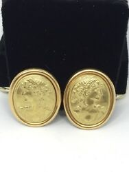 Anfora Made In Italy 18k Yellow Gold Etruscan Cameo Intaglio Earrings