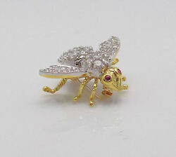 HERBERT ROSENTHAL 18K Yellow GoldWhite Gold Diamond & Ruby Large Bee Brooch