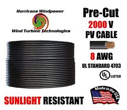 8 Awg Gauge Pv Wire 1000/2000 Volt Pre-cut 15-500 Ft For Solar Installation