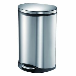 EKO 92185-1 Oblong Shell 13 Gallon Stainless Steel Step Trash Can with Lid   50