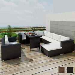 Outdoor Sectional Furniture Wicker Patio Rattan Sofa Set Deck Couch Black/brown