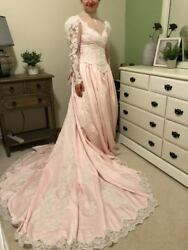 Lite Pink Vintage Wedding Gown, 20000 Pearl Beads, Bow, Train, Bustle, 8/10