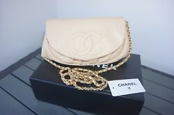NEW Chanel Beige Caviar Leather GHW Wallet on Chain WOC