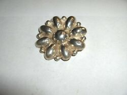 Vintage Early 1900's Sterling Silver .925 Round Flower Pin 1.50 Mexico Nice