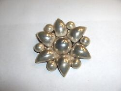 Vintage Early 1900's Sterling Silver .950 Round Flower Pin 2 1/8 Mexico Nice