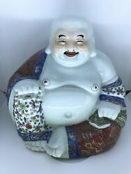 Large Antique Chinese Porcelain Laughing Buddha Familie Rose Handpainted