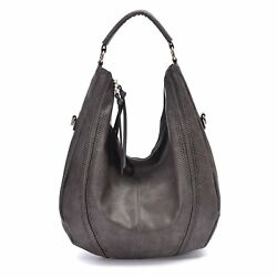 Womens Bag Hobo Handbags Leather Tote Slouchy Purse Piel Vintage Large Gray New $48.90
