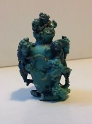 Antique Chinese Rare Turquoise Carved Snuff Bottle 19th M1757