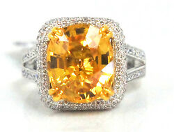 Yellow Golden Sapphire & Diamond 18K White Gold Ring Cocktail Ring Custom Made