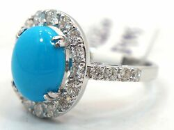 Large Turquoise And 1.75ct Halo Diamond Pave Ring 18k White Gold
