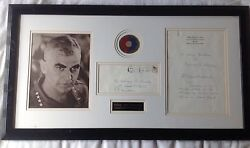 William Childs Westmoreland Signed Letter With Rare Used Wwii Patch Framed