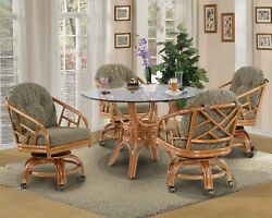 Rattan Swivel Caster Chairs And Table 5 Pieces Dining Set Choice Of Fabrics