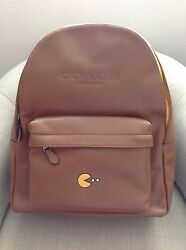 Coach PAC-MAN Saddle Leather Pacman Backpack Bag Camel Tan Men's Limited Edition