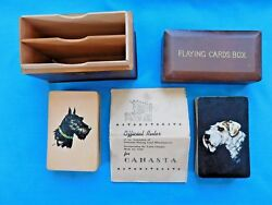 Vintage 1950 Dog Pictured Canasta Playing Cards With Instructions In Wooden Box