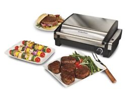 Electric Tabletop Grill Indoor Nonstick Removable Grid Bbq Dishwasher Safe New