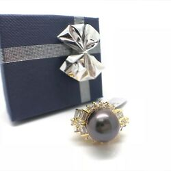 14k Yellow Gold Natural South Sea Mother Of Pearl And Natural Diamond Ring