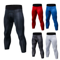 Men's Compression 34 Tights Running Basketball Workout Cropped Pants Tight fit