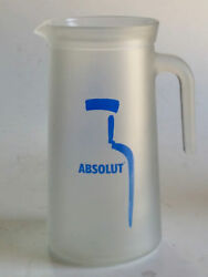 Absolut Vodka Jag Frosted Glass Blue Logo Barware Vintage Collectible Advertise