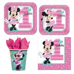 Minnie Mouse 1st B-day Party Express Pack For 8 Guests Cups Napkins And Plates