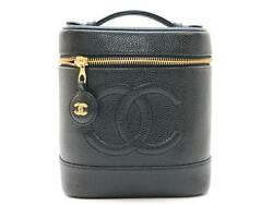 CHANEL Verticle Vanity Bag Cosmetic Pouch Black Caviarskin Leather CC