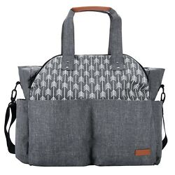 Large Diaper Bag Tote Satchel Messenger for Mom and Girls in Grey Arrow Print